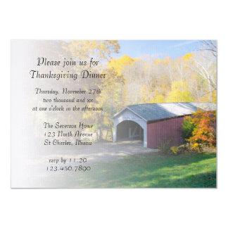 Autumn Covered Bridge Thanksgiving Dinner Invite