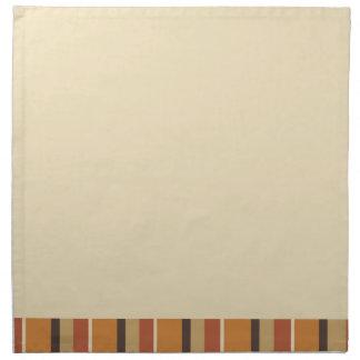 Autumn Creamy Tan and Striped Pumpkin Spice Colors Cloth Napkin