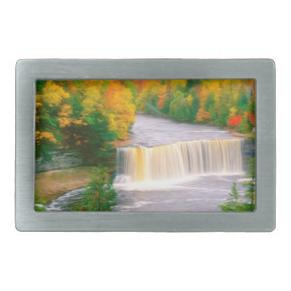 Autumn creek woods with yellow trees foliage rectangular belt buckle