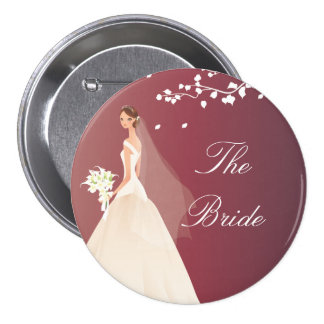 Autumn Crimson Bride Bridal Party  Button