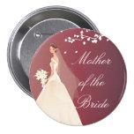 Autumn Crimson MOB Bridal Party Button