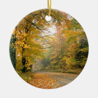 Autumn Crisp Afternoon Vermont Double-Sided Ceramic Round Christmas Ornament