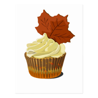 Autumn cupcake postcard