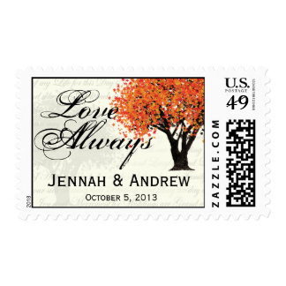 Autumn Dancing Blooms Tree Postage