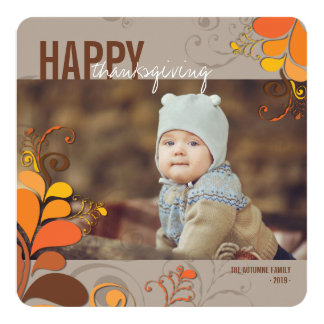 "Autumn Deco Floral Swirls Thanksgiving Photo Card 5.25"" Square Invitation Card"