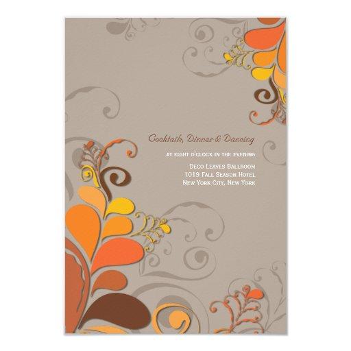 Autumn Deco Floral Swirls Wedding Reception Card