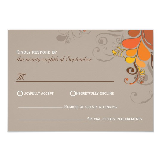 Autumn Deco Floral Swirls Wedding RSVP Card
