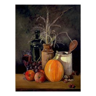 Autumn Decorations on Table Print print