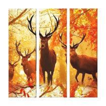 Autumn Deer Pattern Canvas Print