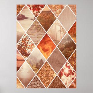 Autumn Diamond Pattern Poster