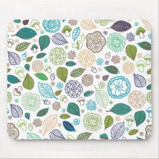 Autumn doodle leaf mashroom pattern mouse pad