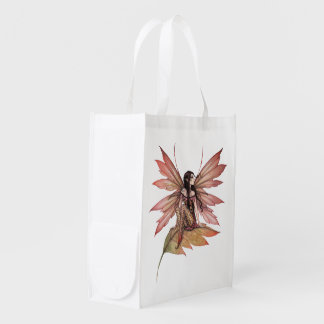Autumn Drifting Butterfly and Fairy Fantasy Art Market Totes
