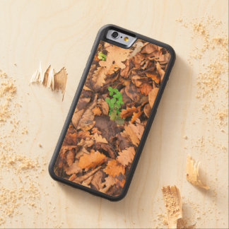 Autumn Dry Leaves and Green Clovers Carved Maple iPhone 6 Bumper Case