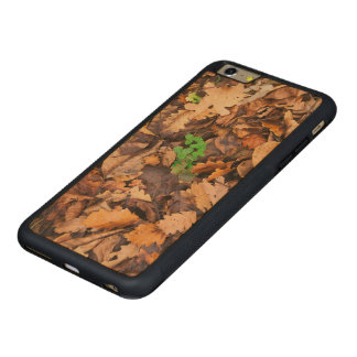 Autumn Dry Leaves and Green Clovers Carved Maple iPhone 6 Plus Bumper Case