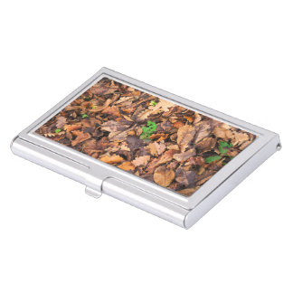 Autumn Dry Leaves and Green Clovers Business Card Holder