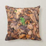 Autumn Dry Leaves and Green Clovers Pillows