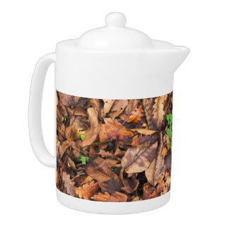 Autumn Dry Leaves and Green Clovers Teapot