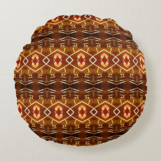 Autumn Earth Tones in a Tribal Pattern Design Round Pillow