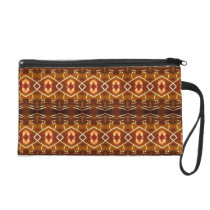 Autumn Earth Tones in a Tribal Pattern Design Wristlet