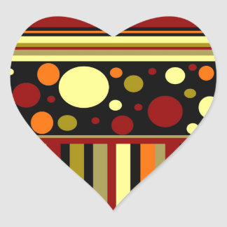 Autumn Earth Tones Stripes Polka Dots Pattern Heart Sticker