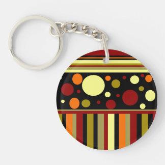 Autumn Earth Tones Stripes Polka Dots Pattern Keychain