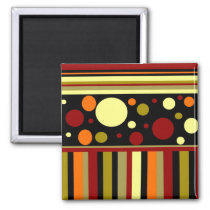 Autumn Earth Tones Stripes Polka Dots Pattern Magnet