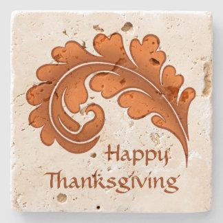 Autumn elegance victorian damask leaf Thanksgiving Stone Coaster