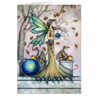 Autumn Fairy Dragon Card by Molly Harrison