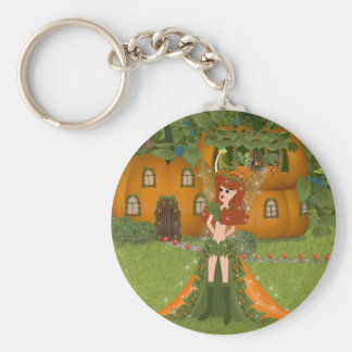 Autumn Fairy Pumpkin Cottage Keychain