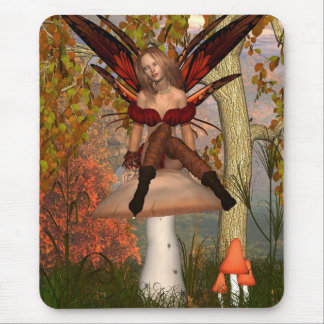 Autumn Fairy sitting on a toadstool with woodland Mouse Pad