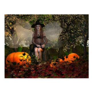 Autumn Fairy Witch Postcard