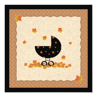 "Autumn Fall Baby Shower Invites Gender Neutral 5.25"" Square Invitation Card"