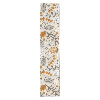 Autumn Fall Berries Leaves and Branches Pattern Short Table Runner