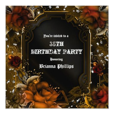 Halloween Themed Autumn Fall Brown Roses Birthday Party Invitation