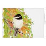 Autumn, Fall, Chickadee, Bird Nature Greeting Card