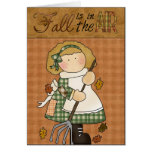 Autumn Fall Collection Girl Leaves Greeting Card