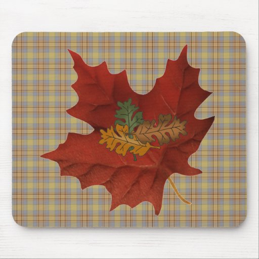Autumn Fall Collection Leaves Mousepad