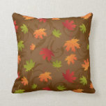 Autumn, Fall Color Leaves on Brown Background Pillow