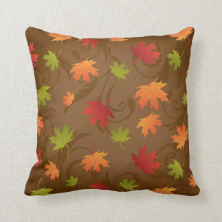 Autumn, Fall Color Leaves on Brown Background Throw Pillows