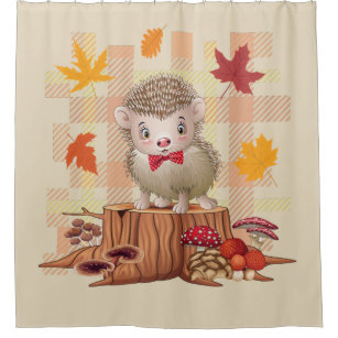 AUTUMN FALL COLORS PLAID HEDGEHOG SHOWER CURTAIN