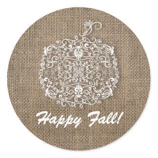 Autumn Fall Filigree Pumpkin & Burlap Favor Classic Round Sticker