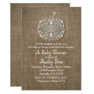 Autumn Fall Filigree Pumpkin & Burlap Invitations