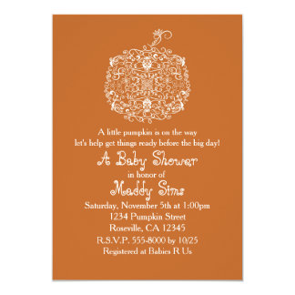 Autumn Fall Filigree Pumpkin Elegant Invitations