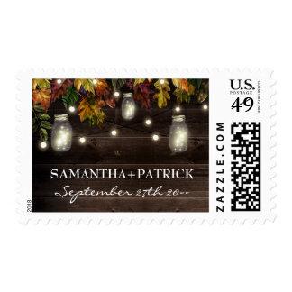 Autumn Fall Firefly Mason Jar Wedding Stamps