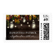 Autumn Fall Firefly Mason Jar Wedding Stamps