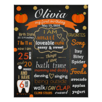Autumn Fall First birthday chalkboard sign chalk