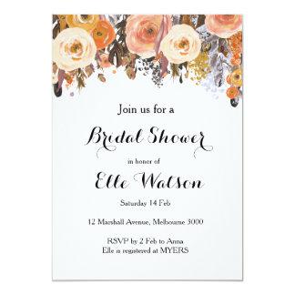 Autumn Fall Floral Chic Bridal Shower Invitation