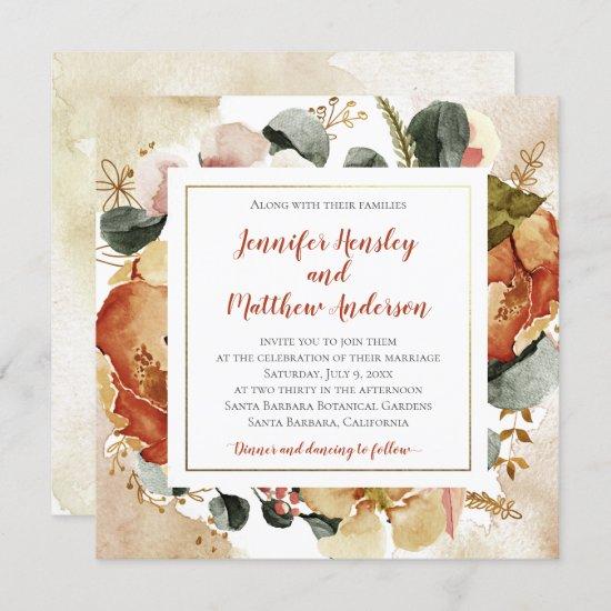 Autumn Fall Florals Wedding Invitation