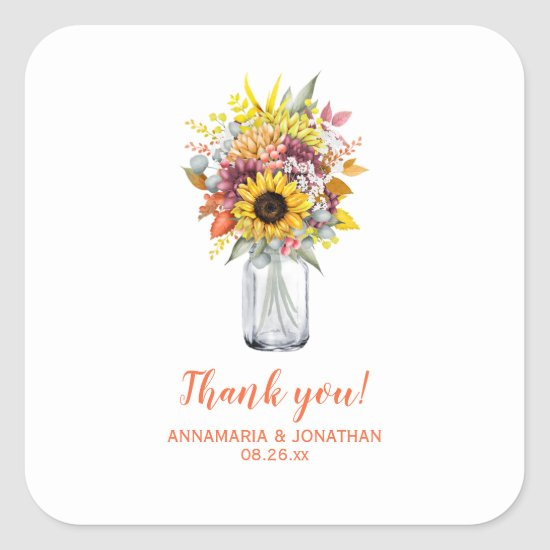 Autumn/Fall Flowers in Mason Jar Wedding Thank You Square Sticker