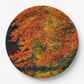 Autumn Fall Foliage Photo Colors Rustic Wedding Paper Plate